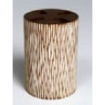 Tooth brush holder - teak carving slatted natural color