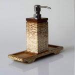 Tray for shampoo dispenser teak carving slatted - natural color