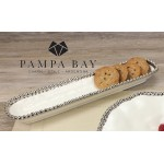 14''x3'' Oblong Porcelain Cracker Tray with Titanium Coating and Beaded Rim  - 1/Case