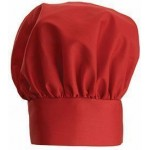 "13"" Chef Hat, Velcro Closure, Red - 24/Case"