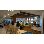 Custom made cafe joinery. Raintree, particle board, HPL
