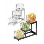 Cal-Mil 1803-4-13 Iron 3 Step Glass Jar Display (4Wx12Dx10.5H - Black with 4x4 Jars)