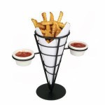 Single Cone French Fry Holder, Wire, Black - 12/Case