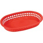 "10.75"" x 7.25"" x 1.5"" Platter Baskets, Oval, Red - 144/Case"