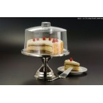 Cake Base And Cover Set, Silver/Clear - 1/Case