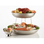 SEAFOOD TRAY, STAINLESS STEEL, 12 12-1/2 DIA. X 2-1/4 H