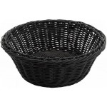 "8.25"" x 3.25"" Poly Woven Baskets, Round, Black - 12/Case"