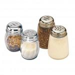 SWIRL JAR, GLASS, WITH SPICE TOP 2-5/8 DIA. X 3-1/2 H