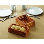 Olive Wood Bread Crate, Large 8 Lx6 Wx2-3/8 H - 6/Case