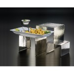 RISER, STAINLESS STEEL, HAMMERED, SET OF 3 6 L X 6 W X 4 H, 7 L X 7 W X 6 H, 8 L X 8 W X 8 H - 6/Case