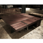 Blocks of tree coffee table. Stained mahogany, coated steel. 1200x1200x400 mm