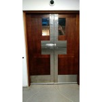 Double back of the house door. Mahogany. Stainless steel.