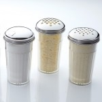 Shaker, San Plastic, Heavy-Duty W/X-Large 1/4 Dia. Holes Cheese Top, 12 Oz. 3 Diax5-3/8 H - 12/Case