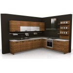 Particle board kitchen unit with timber shelving.