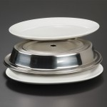 PLATE COVER, STAINLESS STEEL, OVAL, CUSTOM-FITTED, 11-1/16 TO 12-1/2 L X 8-9/16 W - 12/Case
