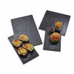 Melamine Platter, Rectangular, Faux Slate, Black, Small 14-3/4 Lx8-1/4 Wx1/4 H - 12/Case