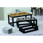 RISER SET, WOODEN, OPEN FRAME, SET OF 3 20.375 L X 11.25 W X 9.375 H, 17.5 L X 8.5 W X 6.5 H, 13.75 L X 7.375 W X 3.375 H - 1/Case