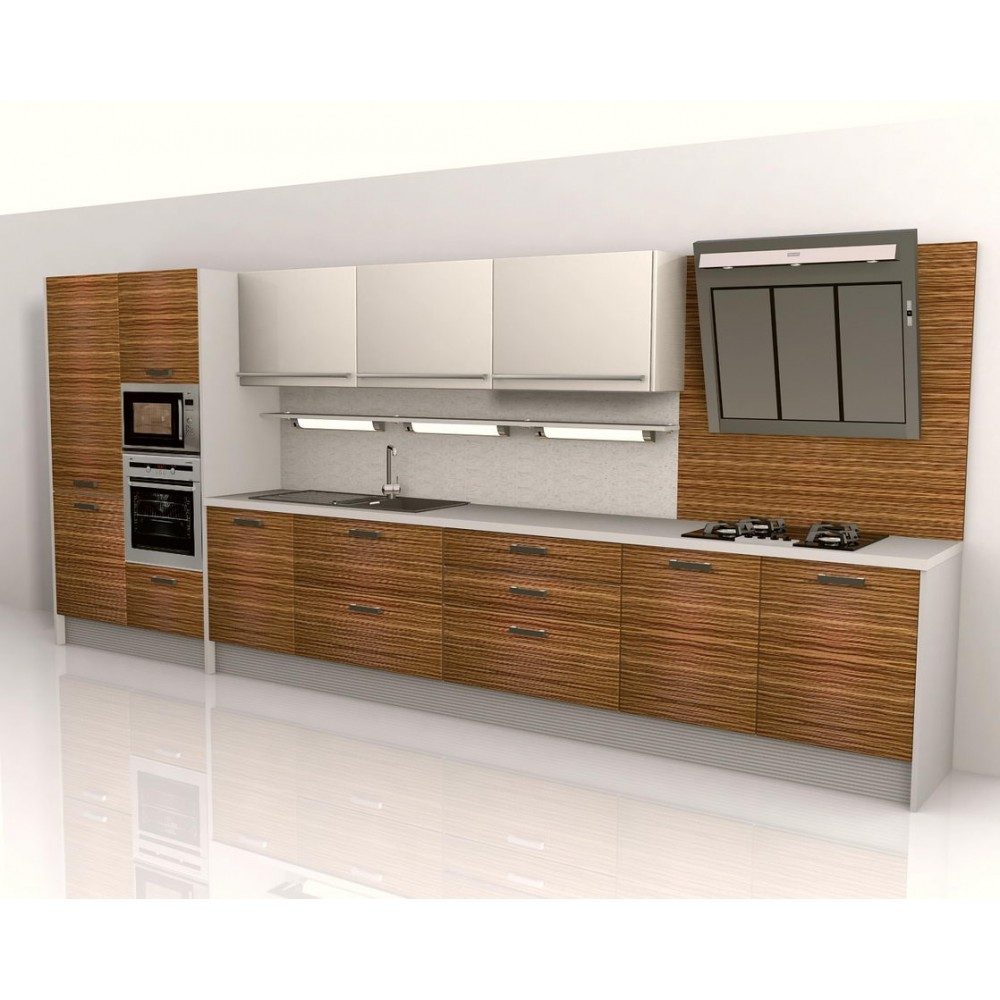 Zebrano Kitchen Unit Veneer High Gloss Panels