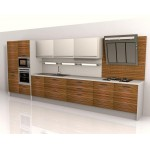 Zebrano kitchen unit. Veneer, high gloss panels.