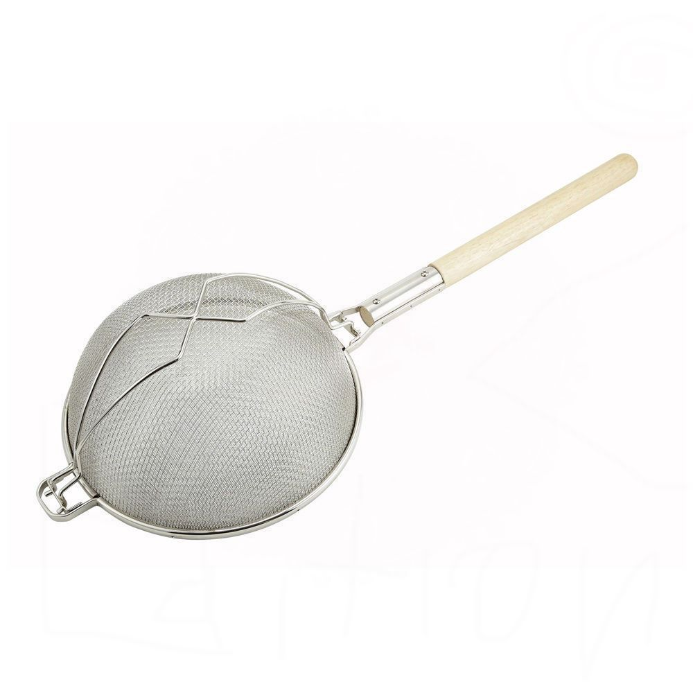 14 Reinforced Double Mesh Strainer Tinned W Round Handle