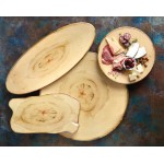 Serving Board, Melamine, Round, Rustic Wood 14 Dia.x1-1/4 H - 12/Case