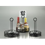CONDIMENT RACK, WROUGHT IRON, LEAF DESIGN, 7-1/2 DIA. 7-1/2 DIA. X 9 H