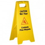 Wet Floor Caution Sign, Fold-Out, Yellow - 12/Case