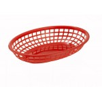 "9.5"" x 5"" x 2"" Fast Food Baskets, Oval, Red - 36/Case"
