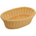 "9.25"" x 6.25"" x 3.25"" Poly Woven Baskets, Oval, Natural - 6/Case"