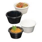 Ramekin, Melamine, Fluted, Black, 4 Oz. - 72/Case