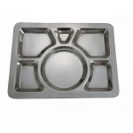"""15.5"""" x 11.5"""" Mess Tray, 6 Compartment, Style A, S/S - 24/Case"""