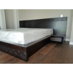 Fijian motif curving King size bed, Mahogany, stained, integrated bedsidetables.