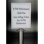 "8.5""x8.5"" Satin Retractable Barrier Sign, S/S, Silver - 5/Case"