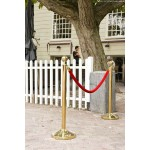 "15"" Classic Barrier Gold System Base & Post, Steel, Gold - 1/Case"