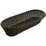 "15"" x 6.5"" x 3.25"" Poly Woven Baskets, Oval, Black - 6/Case"