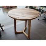 Cross base round table. Fijian Teak. D600x760.