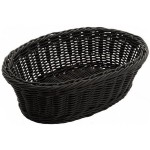 "9.25"" x 6.25"" x 3.25"" Poly Woven Baskets, Oval, Black - 6/Case"