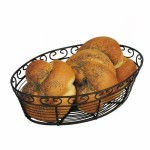"10"" x 6.5"" x 3"" Bread/Fruit Basket, Oval, Black - 24/Case"