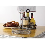 CONDIMENT RACK, ROUND, LARGE, CHROME 7-3/4 DIA. X 9-1/8 H