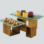 Riser, Rectangular, Dark Bamboo, Set Of 3 5 Lx5 Wx2.5 H, 7 Lx7 Wx4.75 H, 9 Lx9 Wx6.4 H - 3/Case