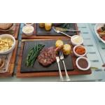 Art wood n stone platter set