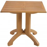 "32"" Square Teak Decor Molded Melamine Pedestal Table Winston with Umbrella Hole - 1/Case"